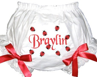 Personalized Diaper Cover Bloomers Panties Baby Girl Lady Bugs