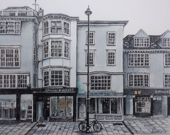 Oxford Shops - An Original Mixed Media Drawing - Mounted and Framed - By Demi Lang