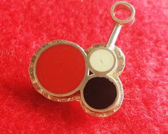 Red Black White Circle Enamel