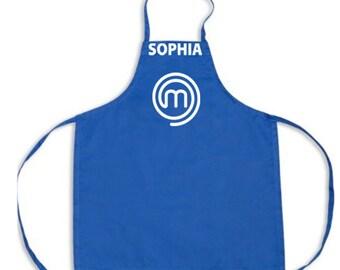 Customized Masterchef Jr Apron- Blue with White design