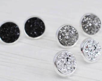 Druzy Studs. This listing is for 1 pair.