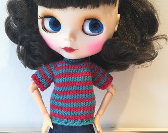 Hand Knit Striped Sweater for Blythe