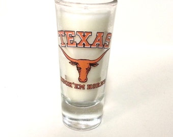 Texas Longhorns Soy Candle - Tall Shot Glass Candle - CHOICE OF SCENT