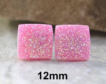Pink AB Glitter Studs , Soft Pink Earrings, Square Resin Studs, Resin Earrings, Flat Back Stud, Glitter Earrings, Handmade Studs, 12mm