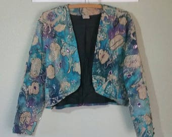 Vintage 80's Jacket by Pisces, Bohemian , Funky Crop Jacket, Bolero