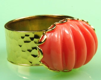 Coral Ripple Ring