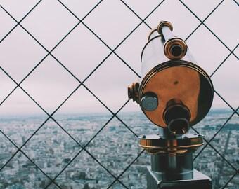Telescope Eiffel Tower Color Photo, Paris Photography, Instant Download, Art Prints, Decor, Digital Download, Paris Art, Print