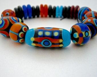 handmade lampwork beads, southwest colors glass beads, 25 handmade glass beads