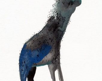 Lady Faced Beast Original / gouache painting