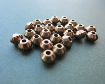 Raw Brass Ribbed Edge Rondelle Beads 3.5x5mm 24Pcs.