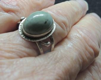 Silver And Jadeite Ring, Size 7 3/4, Vintage Jadeite Ring