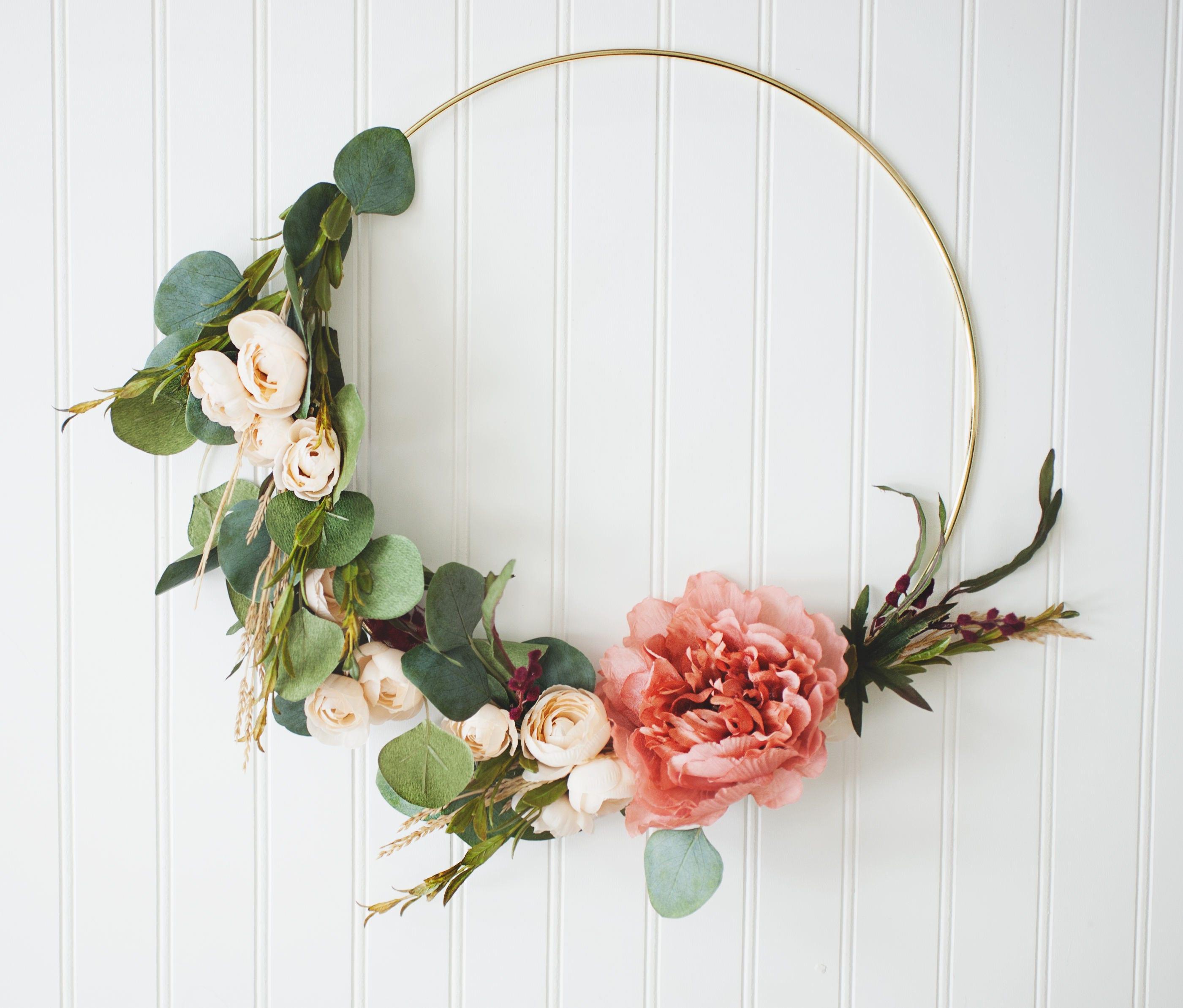 Gold Hoop Wreath, Floral Chic, Boho Nursery Wreath, Newborn Photo ...