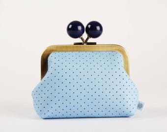 Metal frame coin purse with color bobble - Perforated baby blue - Color dad in faux leather / navy blue sky blue