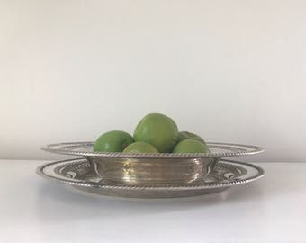 Free Shipping! Vintage Silverplate Round Tray and Bowl, Farmhouse, Dining, Beautiful, Party, Wedding, Thanksgiving, Christmas