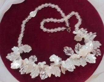 50's Dangling Lucite Leaf Necklace