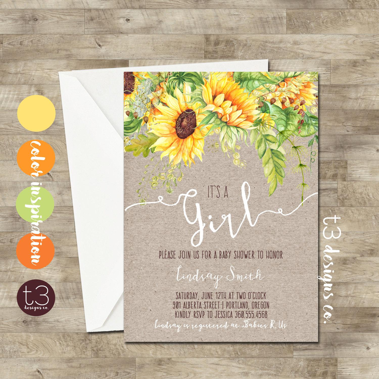 Whimsical Sunflower Girl Baby Shower Invitation, girl baby shower ...