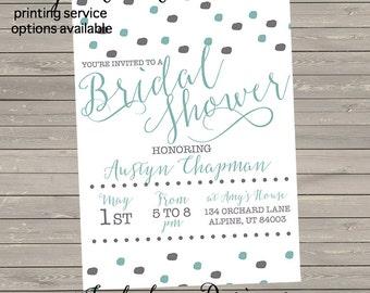 Mint & Gray Bridal Shower Invite