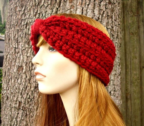 Womens Crochet Headband Earwarmer - Crochet Turban Headband in Cranberry Red Headband - Womens Accessories