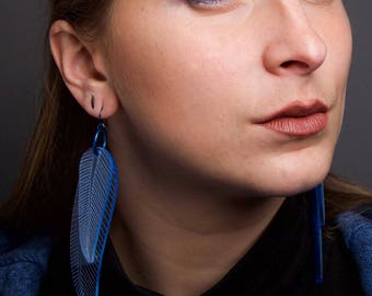 Fluorescent Blue Feather Earrings