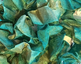 VINTAGE EVERGREEN BOUGH Crinkle Seam Binding Ribbon Crinkly Stained Hand Dyed Ribbon by Starry Nites Farm