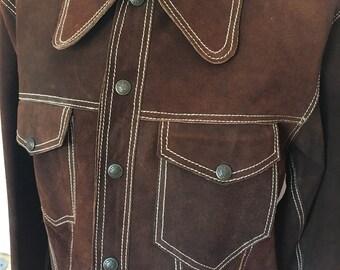 Vintage Brown Suede Leather Jacket
