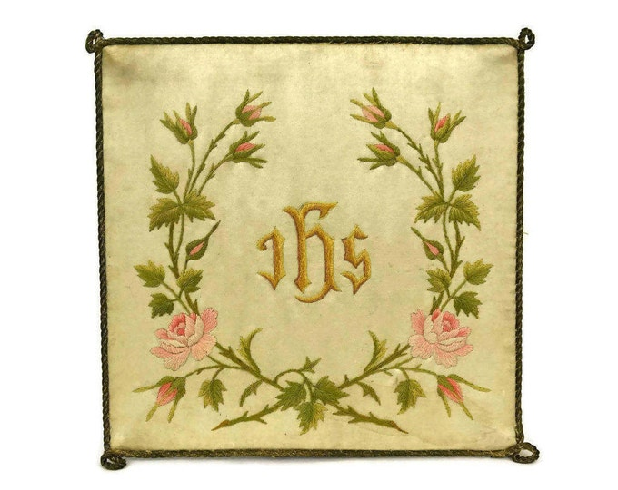 Antique French Embroidered Silk Chalice Cover with Roses. Gift for Catholic.
