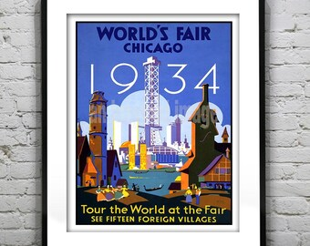 1934 World Fair Poster Art Print Chicago