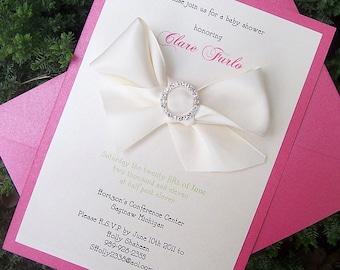 Baby shower invitation, pink shower invitation, rhinestone invitation, elegant shower invitation