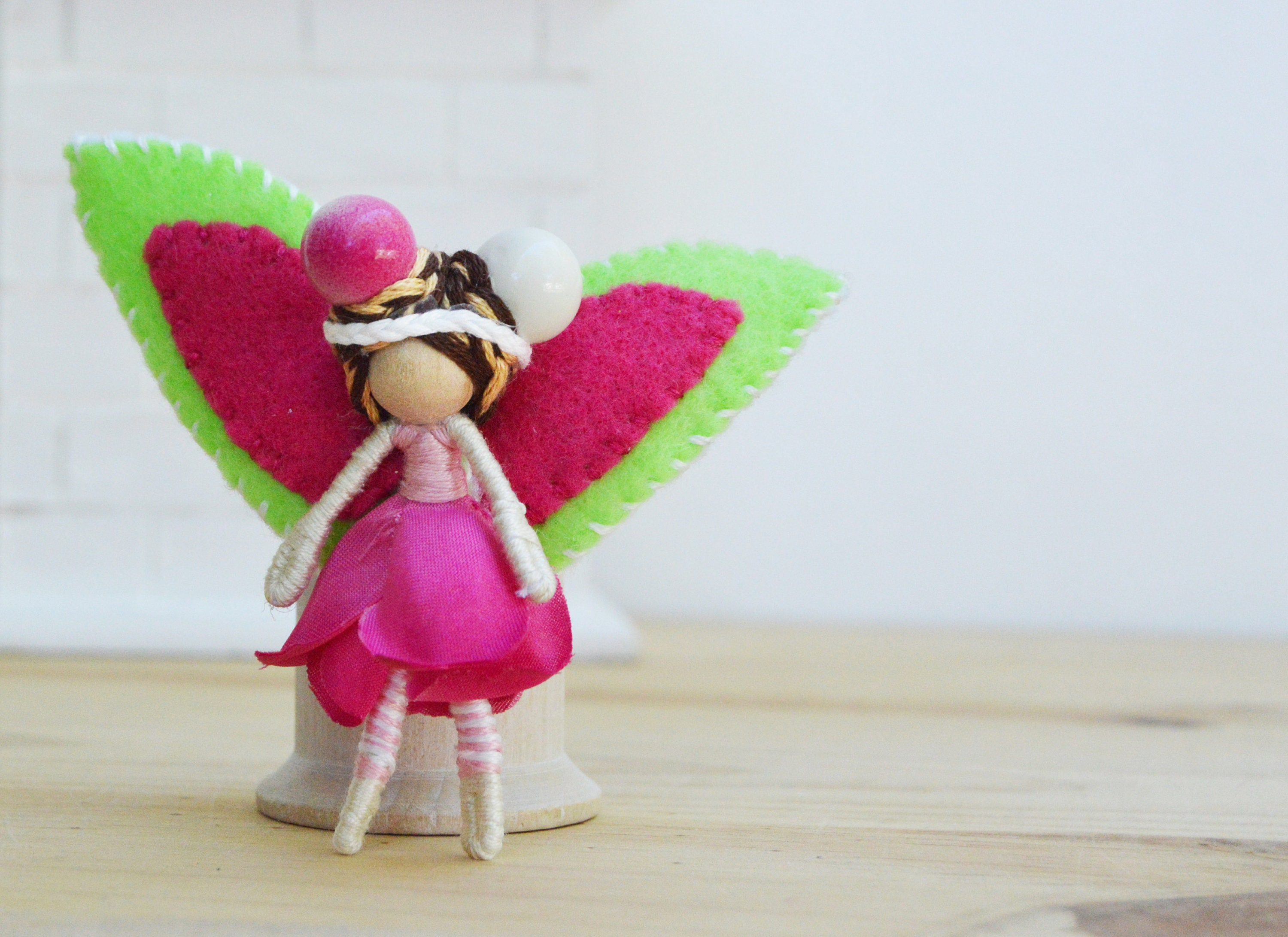 Waldorf Fairy Doll In Pink And Green A Perfect Miniature Flower
