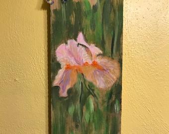Pink Iris Rustic Piece