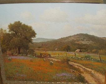 Green Texas Landscape ,Artist Porifinio Salinas d1971