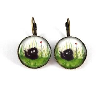 Black Cat earrings and retro stud earring heart