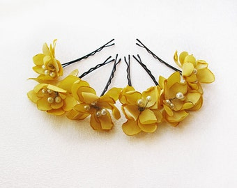 yellow  flower hair clip, wedding hair accessories,  bridal hair accessory,  wedding, bridal headpiece,Bridesmaid Hair