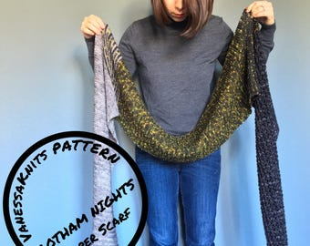KNITTING PATTERN - Gotham Nights // Garter & Lace Super Scarf // Oversized Wrap Shawl // NYC Inspired // Level: Easy+