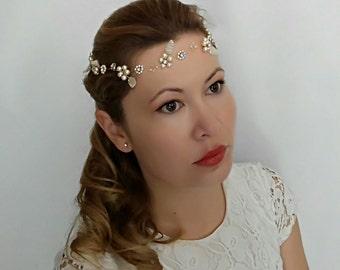 Flower Headband, Wedding Headband, Bridal Headband Gold, Bridal Headband Leaves and Flowers, Pearl Headband, Hair Wreath