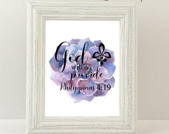 Philippians 4:19|Digital Print|Printable|Bible Verse
