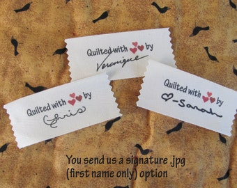 """Signature Personalized Quilting labels=Large size-1.5"""" x 3.5"""""""