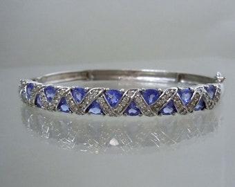 14kt White Gold Trillion Cut 2.25ct Amethyst Diamond zig-zag Bangle Bracelet