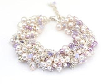 Silver Pearl Cluster Bracelet | Lavender Pearl Bracelet | Personalized Bridal Jewelry