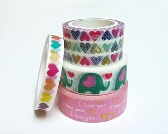 Washi tape heart, love, love, elephant pattern