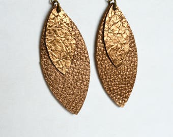 Antique Copper  Leather Leaf  Earrings: Stacked Leaf Leather Earrings in Antique Copper // Leafy Treetop Leather