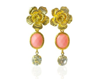 Coral pink gems gold earrings, Gold flower earrings, Peach pink bridal Jewellery, Gifts for girlfriend, Gold statement long wedding earrings
