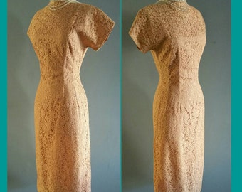 1950s floral lace wiggle dress.