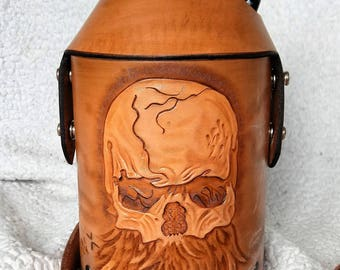 Hand Tooled Leather Beer Growler Cover w/Bearded Skull Design