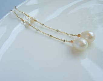 Long Pearl Earrings - White Cultured Pearl Long Earrings Gold Filled and Sterling Silver
