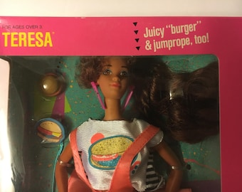 1980s Cool Times Barbie Doll / Teresa / New in Box / with Burger and Jump Rope!