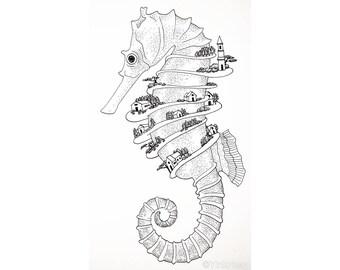 Print of seahorse