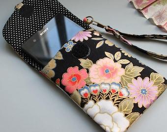 Etui téléphone  portable  sur mesure  - pochette smartphone - pochette téléphone portable - Anniversaire - cadeau femme -  - noir doré