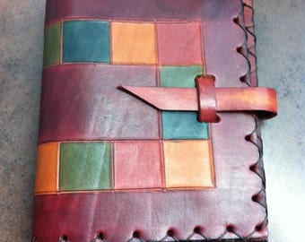 Vintage Leather Cover - Note Book Folder - Burgandy Leather Multi Colored Decorated - Gift for the Traveller