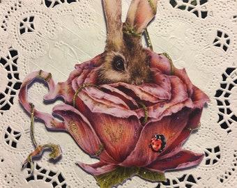 Telina Teacup Bunny 3D Ladybug Chipboard Embellishments DarlingArtByValeri Scrapbooking Mini Album Card Making Rabbit Handmade